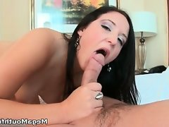 Hot brunette babe goes crazy sucking