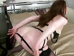 Horny sexy housewife fucks her dildo