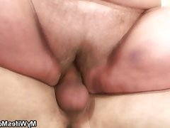 Bbw rides a young guys cock for his..