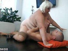 Blonde bbw rides a hard rod of meat..