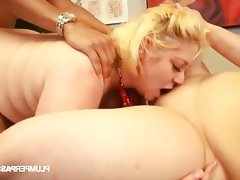 Two sexy and slutty blonde bbws share..