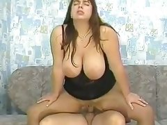 Nasty fatty slamming bigass on hard dick