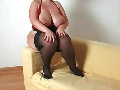 Busty plumper milf in stockings