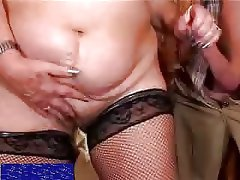 Kinky granny in boots fucks local boy