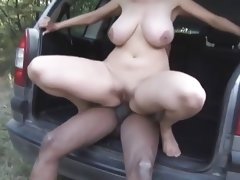 In the german woods the milf outdoors