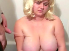 Chubby blonde with big boobs makes a..