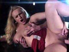 Fucked hugetitted stripper squirts on..