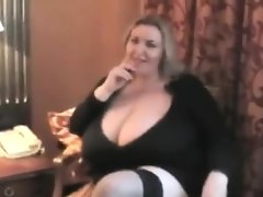Naughty bbw plays with her big boobs